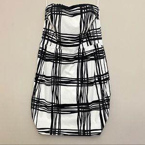 Express Black and White Strapless Mini Dress